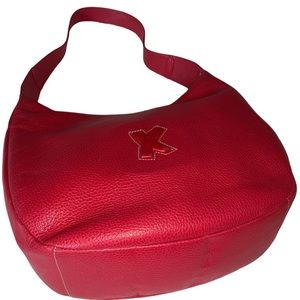 Large Paloma Picasso red pebbled leather hobo bag
